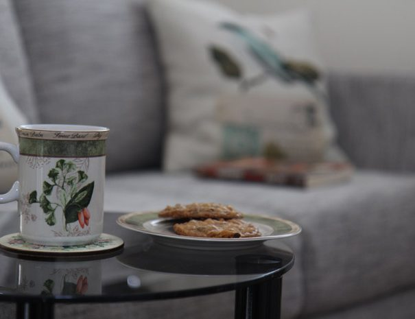 Relax on the couch with a cuppa